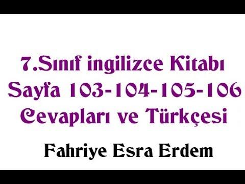7.  Sınıf İngilizce Kitabı Sayfa 103-104-105-106 Cevapları ve Türkçesi MEB 2019