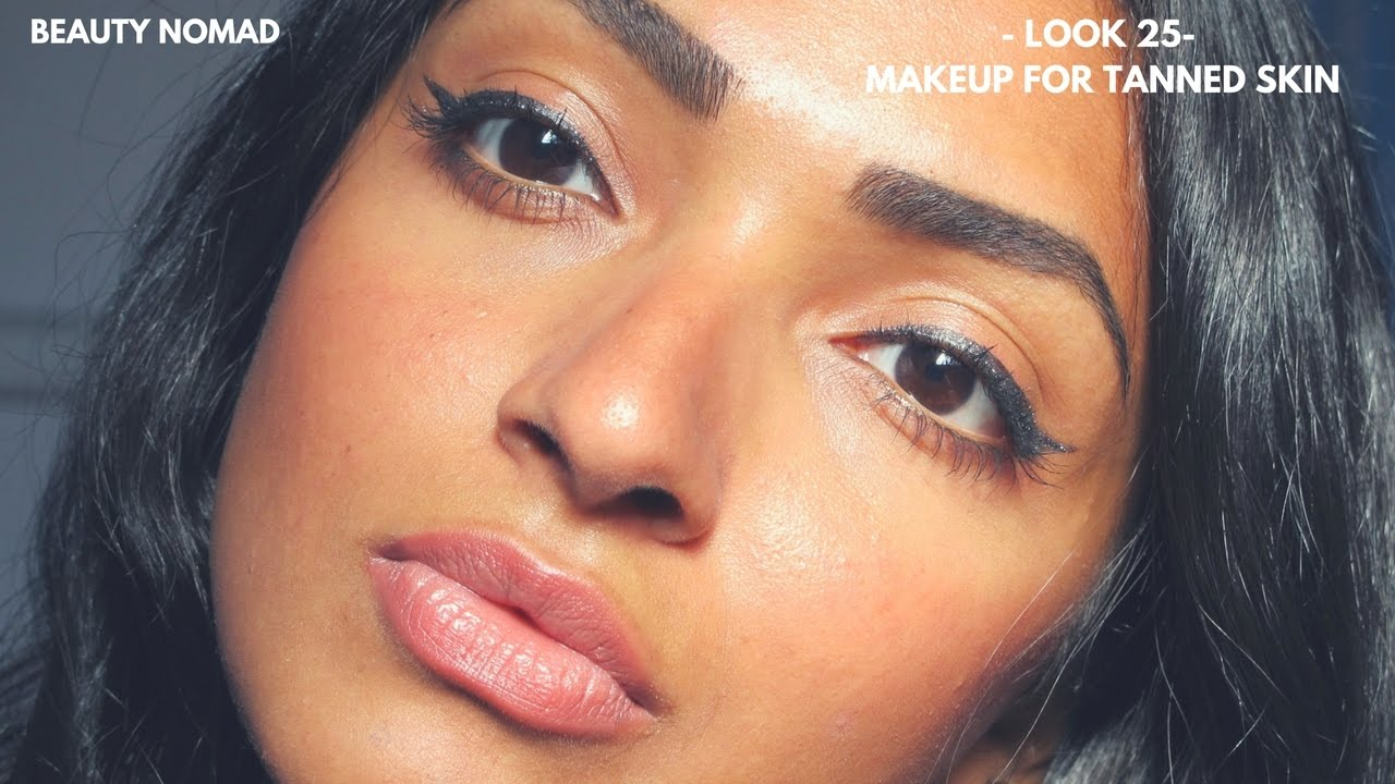 Makeup For Tanned Skin Tutorial Sparkly Liner And Nude Lips Youtube