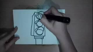Como dibujar un semaforo  -  Рисуем светофор -  交通信号を描く
