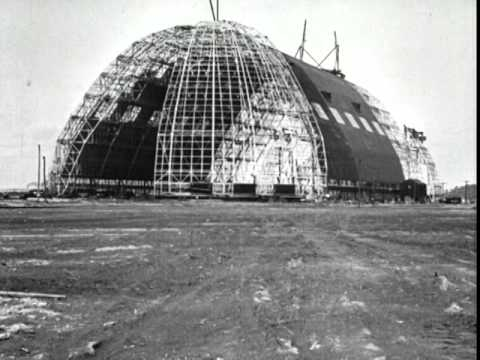 Scenes of the construction of the Goodyear Air Dock and an airship frame, 1929-1930