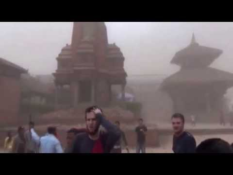 Nepal earthquake - Video shows terrified tourists as the temple collapses BBC News