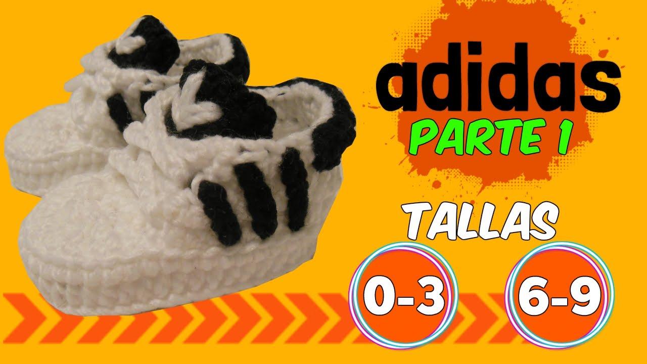 persona máscara base  Zapatitos adidas tejidos a crochet 0-3 y 6-9 meses | parte 1/2 - YouTube