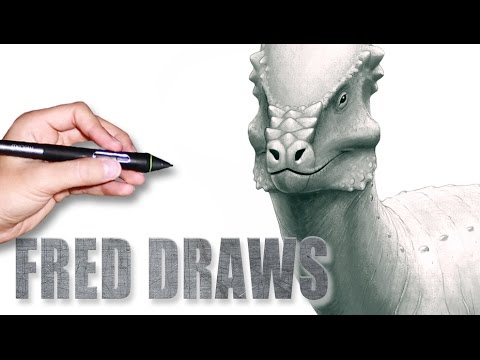 Pachycephalosaurus for Wikipedia | Dinosaur Timelapse Paint | Fred Draws