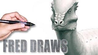 Pachycephalosaurus for Wikipedia | Dinosaur Timelapse Paint | Fred Draws
