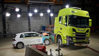 Crash testing an electric Scania truck