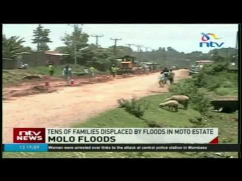 Tens of families displaced by floods in Moto estate in Molo