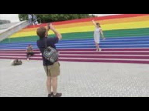 NYC Park Transforms Staircase Into Gay Pride Flag