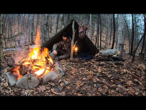 Solo Bushcraft Camp in Heavy Rain — Canvas Lavvu Poncho Tent Shelter