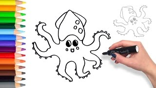 Learn How to draw a Squid | Teach Drawing Coloring Page