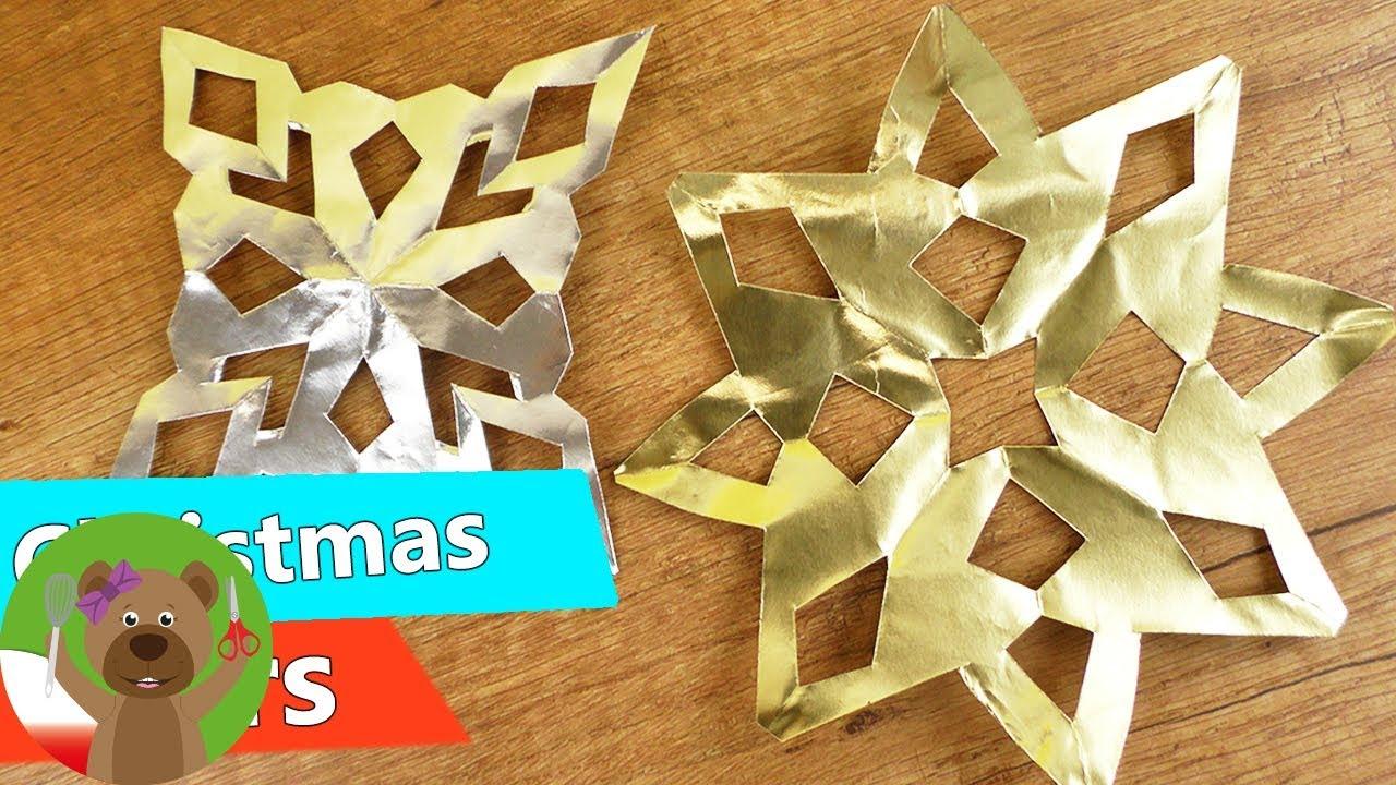 Gwiazdki świateczne ze srebrnej i złotej folii | kreatywna zabawa z dziećmi