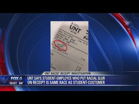 Receipt from University of North Texas campus eatery refers to student with racial slur