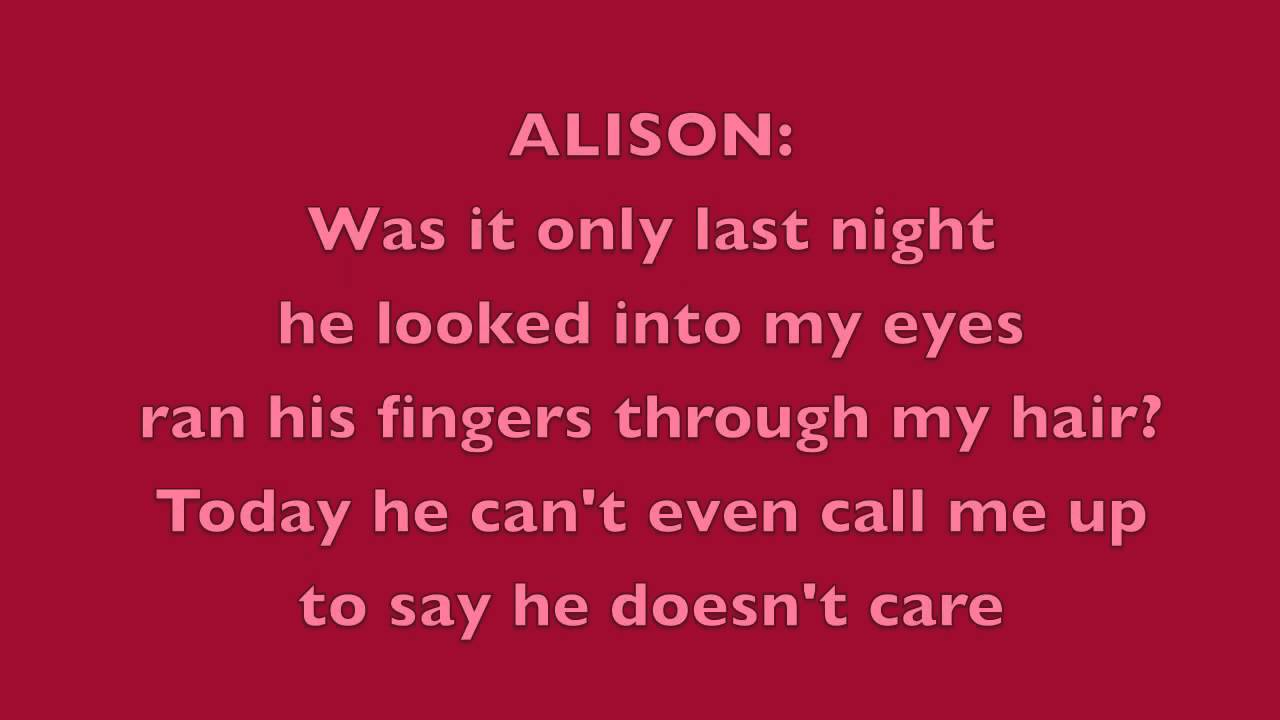 Alison The Musical Someone Somewhere