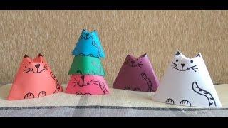 DIY! Поделки из бумаги. Оригами. Кошки-матрешки! Origami cats