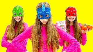 Nastya became a superhero and helps friends
