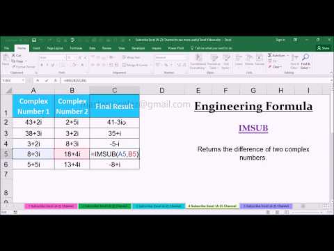 EF Lesson 49 : IMSUB Engineering Function with Examples in MS Office Excel Spreadsheet 2016