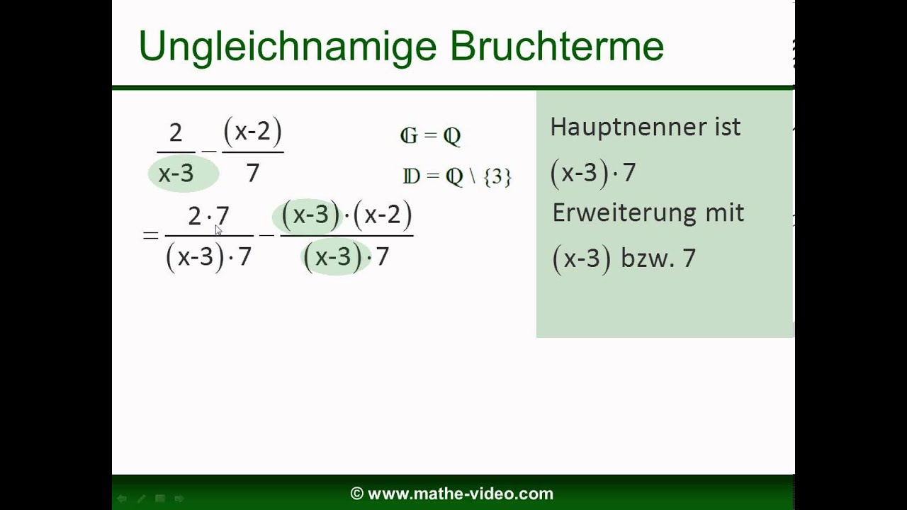 Bruchterme addieren und subtrahieren - YouTube