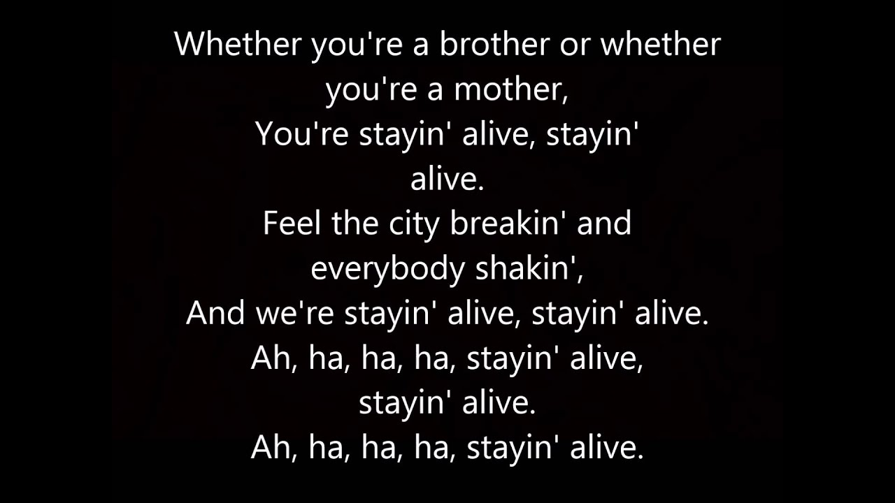 Bee Gees Stayin Alive With Lyrics Youtube