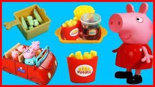 佩佩豬粉紅豬小妹一家到快餐店買薯條漢堡可樂