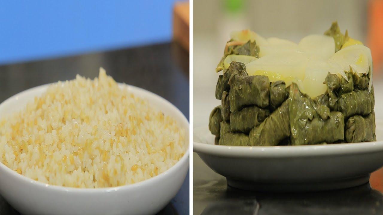 فريك مفلفل بالأرز  - محشي ورق عنب بالفريك  ووصفات أخري : عيش وملح حلقة كاملة