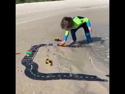 Waytoplay flexible rubber roads- Perfect toys for water play at the beach