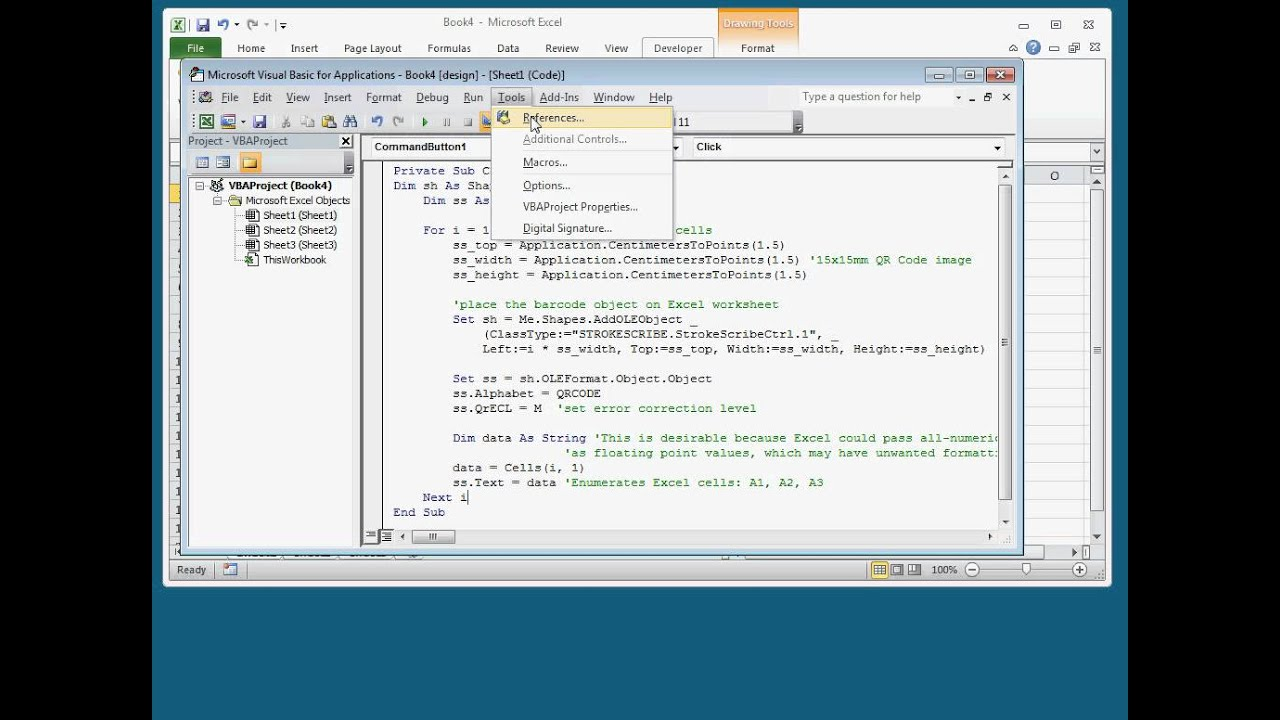 How To Make Qr Codes Form Worksheet Data In Excel