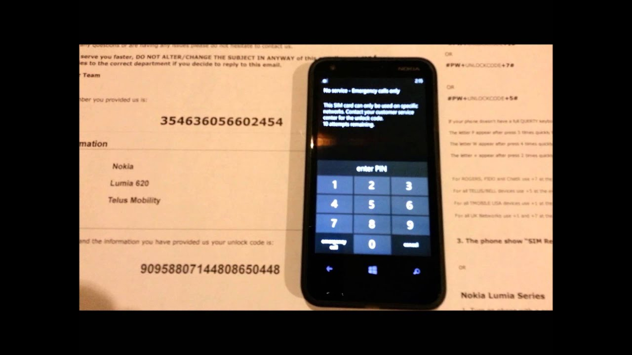 how to put nokia unlock code