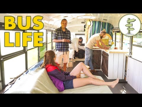 DIY School Bus Conversion as Travel Tiny House for 2 Nomad Couples