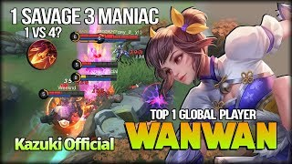 1x SAVAGE 3x MANIAC!! 1 vs 4?! Just Come! Kazuki Official Top 1 Global Player - Mobile Legends