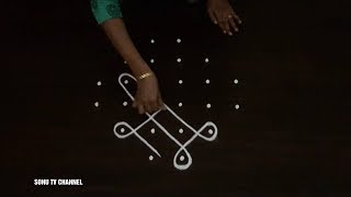 6 Dots kolam, beginners kolam, simple kambi kolam, apartment kolam, small kambi kolam, how to draw