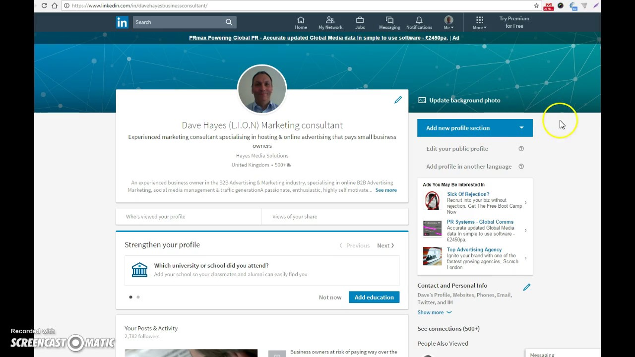 Linkedin ~How to edit your profile information on Linkedin