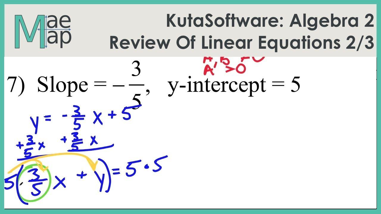 KutaSoftware: Algebra 2- Review Of Linear Equations Part 2