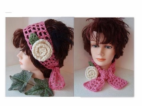 Crochet Headband And Scarf Summer Mesh How To Diy Youtube