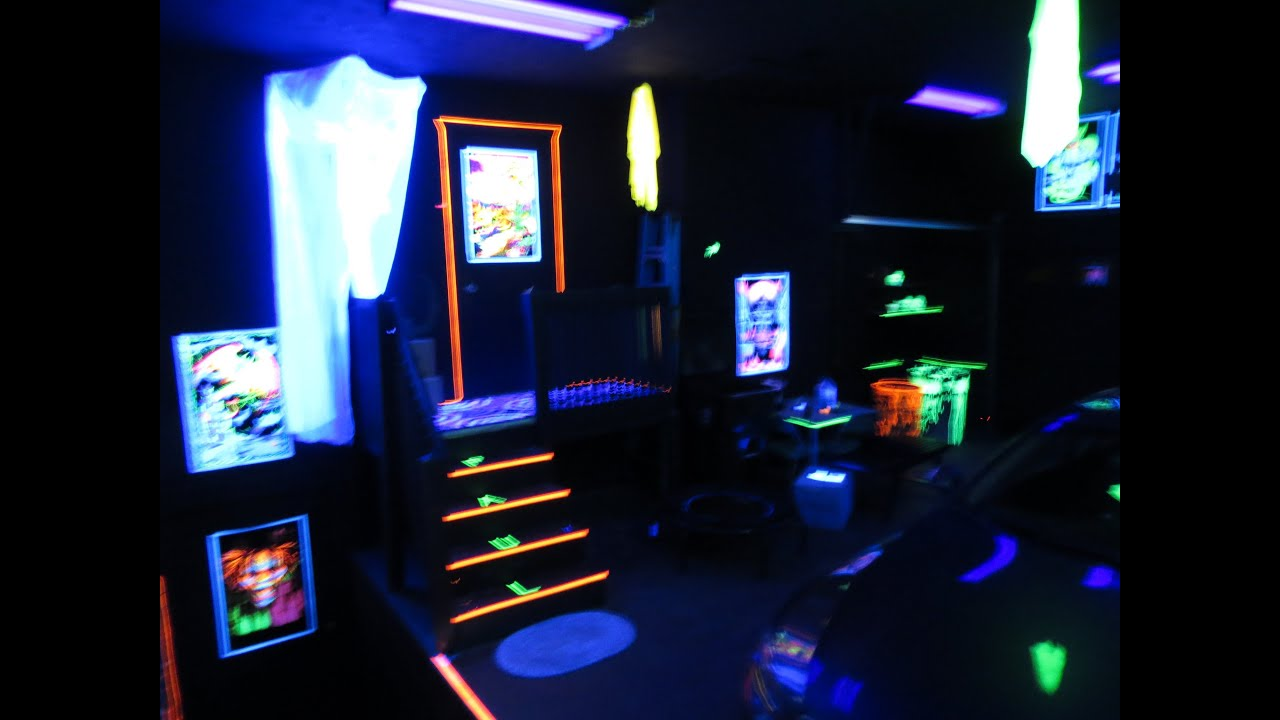 My blacklight garage party room youtube for How to light up a room
