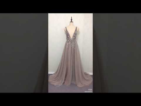 sexy-deep-v-neck-low-back-long-taupe-tulle-beaded-prom-dress-with-slit