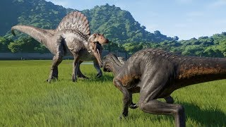 Spinosaurus(Modified) VS T-Rex, I-Raptor, I-Rex, Carnotaurus and Allosaurus - JWE
