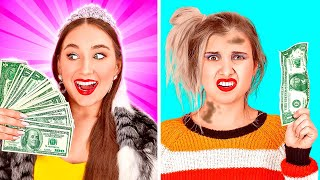 BAD RICH VS GOOD BROKE SCHOOL GIRLS | Millionaire Parents! Poor Girl Pretends Rich by 123 GO! SCHOOL