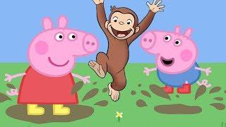 Jorge el Curioso - Salta en los charcos de barro - Peppa Pig - En español - FuntasticGames4kids