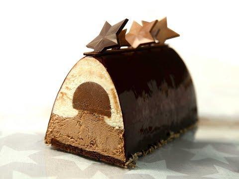 Bûche de Noël aux 3 chocolats et grué de cacao