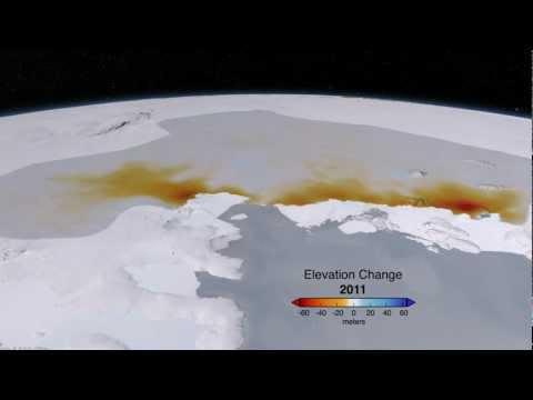 West Antarctic Glacier Ice Flows and Elevation Change [1080p]