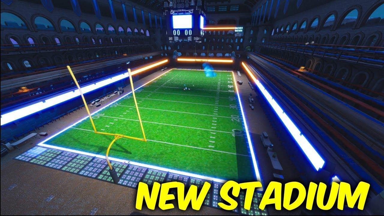fortnite map changes collamasseum the block football stadium - fortnite football field creative