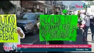 Pobladores de Orizaba claman justicia por el asesinato de los hermanos Pérez González