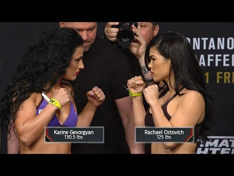 Karine Gevorgyan vs. Rachael OstovichBerdon  Weighin FaceOff  The Ultimate Fighter 26 Finale