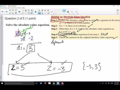 Class 5 Section 9.3 Absolute Value Equations