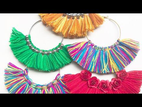 Tassel Earrings || 5 Beautiful Handmade Hoop Tassel Earrings DIY | Jewelry idea
