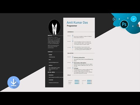 Awesome Grey and White Resume/CV Design Tutorial in Adobe Photoshop (For beginners) thumbnail