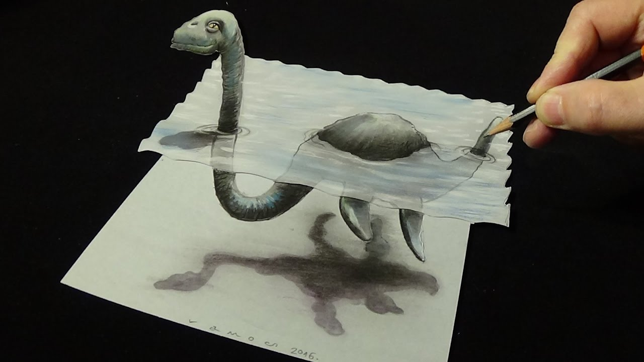 3d trick art on paper real loch ness monster new viewpoint youtube