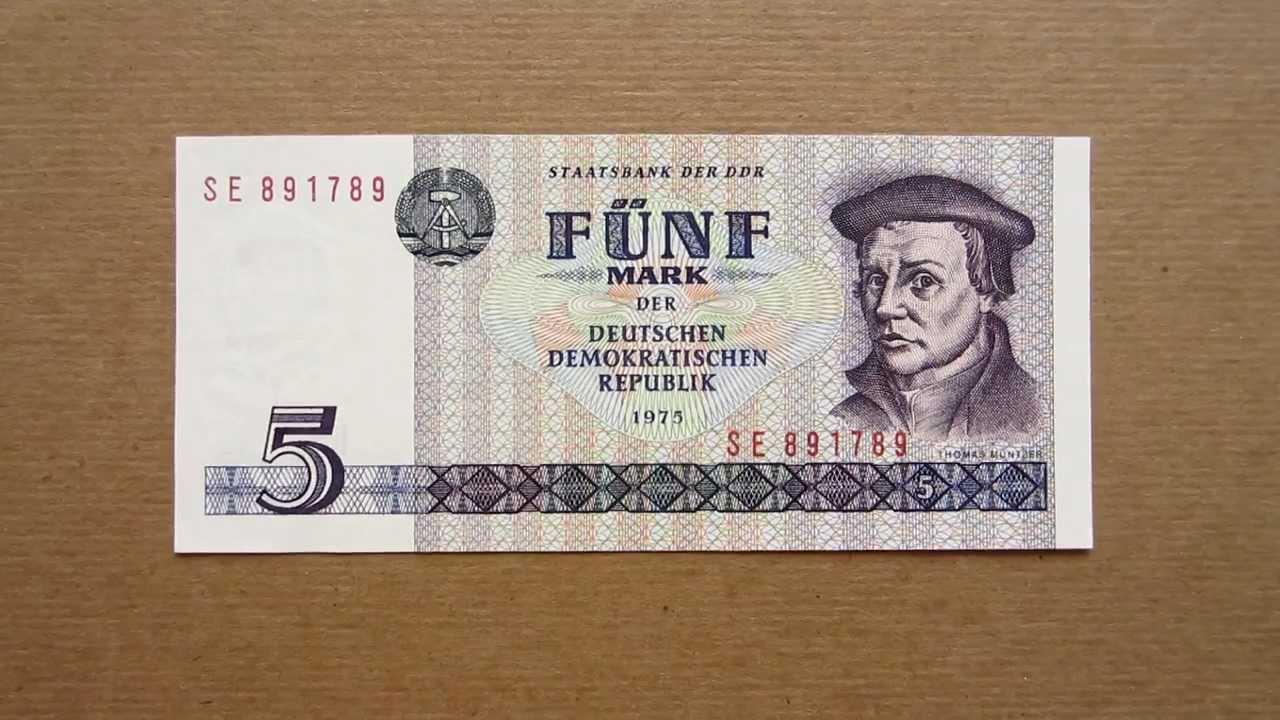 5 east german mark banknote five east german mark 1975. Black Bedroom Furniture Sets. Home Design Ideas