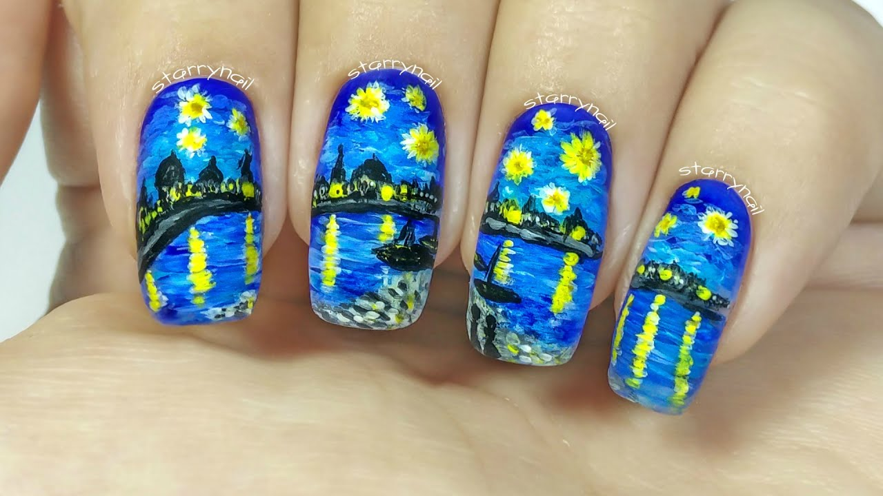 Vincent Van Gogh Starry Night Over The Rhone Freehand Nail Art You