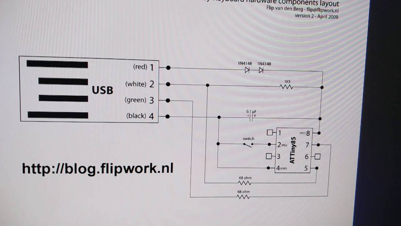 hight resolution of one key keyboard with attiny85 youtube key keyboard schematic 4 key keyboard using attiny85