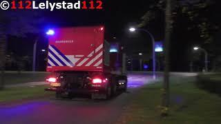 PRIO1 Hoogwerker en Schuimblusvoertuig brandweer Lelystad naar een Grote Stal brand